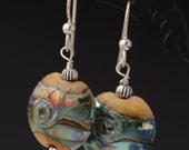 Ivory Silver Glass Lampworking Sterling Silver Lentil Earrings