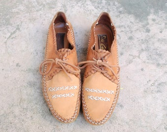 Vintage Womens 8.5 Pina Calada WigWam Brazilian Leather Shoes Moccasins Moccasin Loafers Loafer