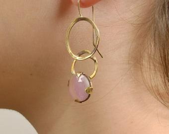 Pink Sapphire Statement Earrings, Asymmetric Earrings, Gemstone Large Gold Links Drop Earrings, Two tone Drop Earrings, Boho Dangle Earrings