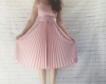 Vintage 70s Accordion Pleated Disco Dress Belted Shimmery Pink Knee Length XS S