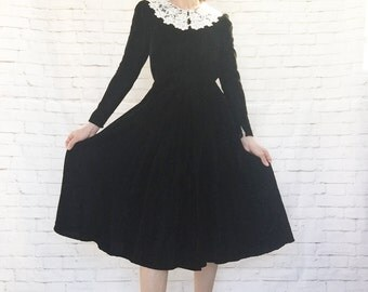 Vintage 80s Does 40s Black Velvet White Lace Doily Collar Midi Dress XS Wednesday Addams Puffed Long Sleeves