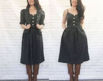 Vintage 70s Does Victorian 3pc Dress Set XS Gray Ticking Striped Ruffled Collar Tank Top Skirt Prairie Steampunk