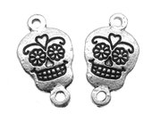 Links : 10 Antique Silver Sugar Skull Connectors | Silver Day of the Dead Links -- Lead, Nickel & Cadmium Free 44818.J4A