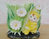 Vintage Yellow Elf Planter with Daisy Flowers and Tall Grass by United Japan