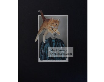 Surreal Art, One of a Kind Mixed Media Paper Collage, Altered Vintage Photo of Man with Orange Cat