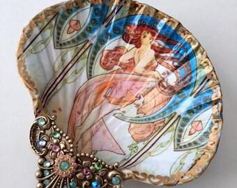 Alfonse Mucha, Shell Jewelry Dish, Ring Dish, Trinket Dish, Shell Art