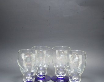 Antique Weston Opitcal Paneled Cut Glass Cobalt Blue Footed Parfaits, Weston Footed Parfait Glasses, Weston Cut Fern and Leaf Footed Glasses