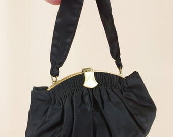 1940s Black Satin Evening Bag * Black Satin Handbag * 40s Clutch * Black and Gold Evening Bag * 1940s Purse * 40s Purse * Satin Purse