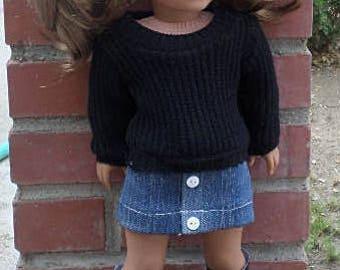 denim mini skirt /sweater. for 18 inch dolls