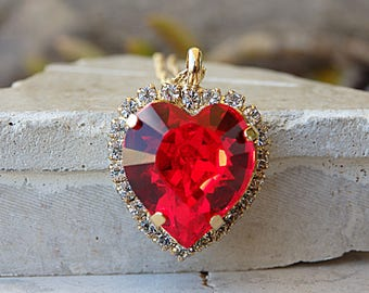 Dainty Heart Swarovski Pendant, Birthday Jewelry Gift Idea, Mothers Necklace, Heart Shaped Necklace, Ruby Red Necklace For Wife Girlfriend,