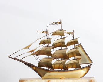 Vintage DeMott Sail Boat sculpture, Mid Century 1970. Onyx, copper, and brass