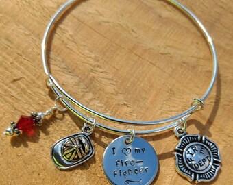 Personalized Firefighter Adjustable Bangle Bracelet