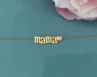 Mama Necklace, Mama Bear Necklace, Gold Necklace, baby shower gift, name necklace, Gifts for mom, best friend gift, best seller necklace