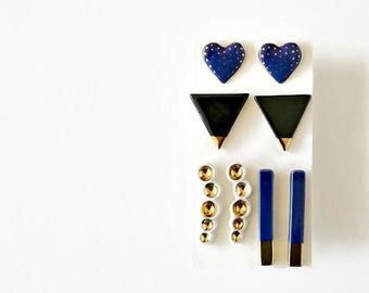 Ceramic stud earrings - choose your favorite earrings - Jasmin Blanc ceramic jewelry - blue earrings black triangle gold studs