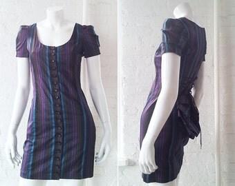 Betsy Johnson Bustle Dress 90s Vintage Black Teal Striped Mini Dress Body Con Corset Pencil Skirt Scoop Neck Small Mod Goth Steampunk Dress