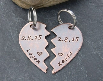 Rustic COUPLES KEY CHAIN Set, Valentine Gift for Husband or Wife, Anniversary Gift for Boyfriend or Girlfriend, Personalized Copper Keychain