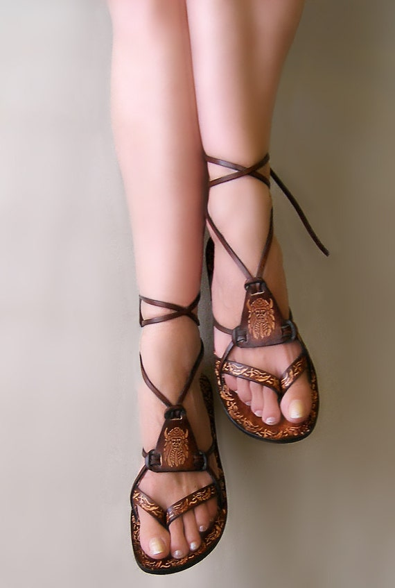Hippie Boho Sandals, Unisex, Brown Burnished Leather Lace Up Handmade Flat Sandals With Design - FANTASY II