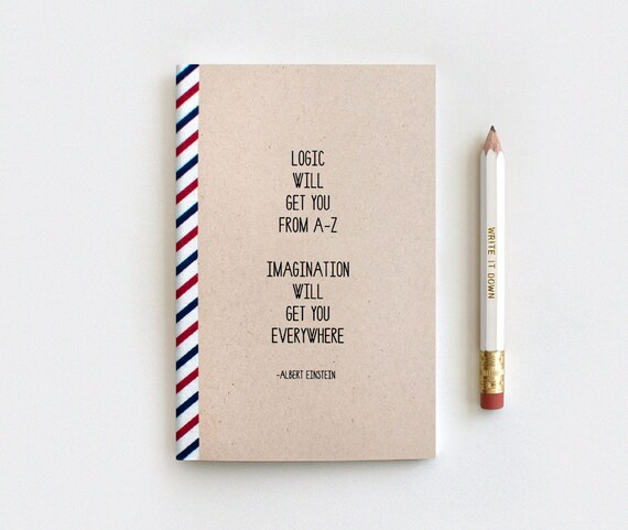 Stocking Stuffer for Her, For Him - Notebook & Pencil Set, Midori Insert - Einstein Quote Logic - Recycled Journal Typography Brown Notebook