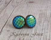Mermaid scale earrings, Dragon Scale earrings, Peacock blue earrings, mermaid jewelry, mermaid tail, hide skin, opal iridescent, fish