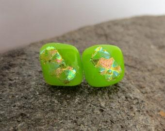 Sensitive Ears Hypoallergenic 9/10mm Opal Spring Green Dichroic Glass Stud Titanium Post Earrings