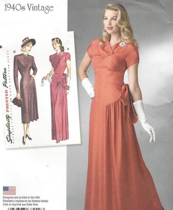 Womens 1940er Jahre Cocktailkleid oder Abendkleid Diagonale