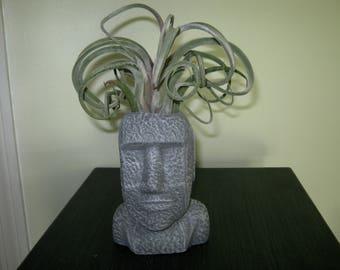 Planter Easter Island Head, Succulent Plant Pot, Cacti Container, Air Plant Pot, Concrete Planters Cast Cement, Head And Face Plant Pots