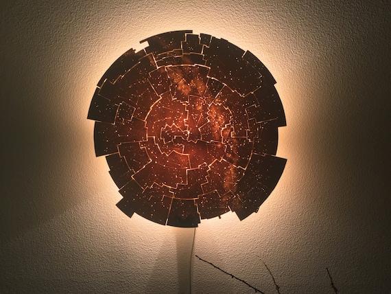 celestial map lighting sconce in translucent porcelain