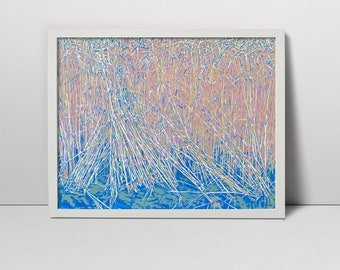 Wheatfield landscape serigraph - filed screen print - wheat filed - wheat filed landscape - ears of wheat - wheat filed art summer landscape
