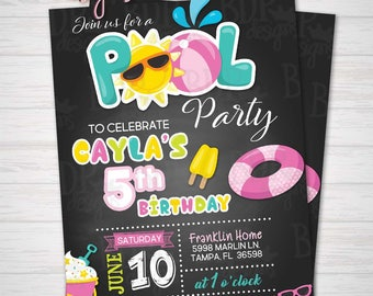 GIRL Pool Party Birthday Invitation, Swimming Party, Summer Birthday, 5th/ANY Birthday-Customized Download OR Prints-Details Below