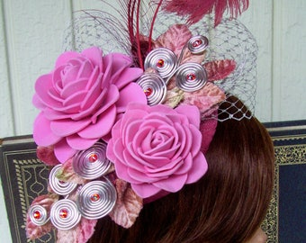Fascinator (F708) Pink Colors,  Mini Hat, Handmade Foam Rosettes, Ascot or Kentucky Derby, Weddings, Cosplay
