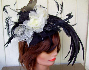 Fascinator (F715) Ebony and Ivory Colors, Kentucky Derby, Races Mini Hat, Wedding, Organza Roses and Feathers, Silver Aluminum Butterfly