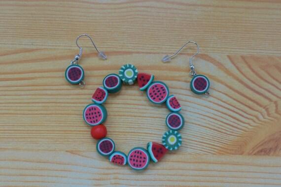 Girls set,girls bracelet,watermelon,girls earrings,fruits bracelet,watermelon bangle,girls jewelry set,girl bracelet,girl earrings