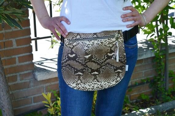 Leather waist bag,Belt bag,hip leather bag,fanny pack leather,snake bag,hip belt bag,rider bag,leather fanny,zipper waist,animal print bag