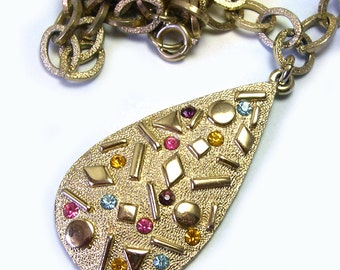 Sparkly Retro Old Anitque Vintage Sarah Coventry Rhinestone Necklace, sarah cov rhinestone necklace, sarah cov necklace, multi colored