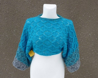 Knitted sweater shrug,  cropped sweater, blue sweater shrug, lace pattern sweater, turquoise and grey shrug,hand knitted shrug,original item