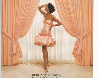 1988 Advertisement Burlington House Draperies Orange Peach Pouf Poof Curtains Drapes Dress Fashion 80s Interior Design