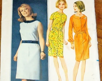 Vintage 1960s Sewing Pattern Butterick 3997, Zip Front Step-in Sheath, Career or Day Dress, Jewel Collar, Belt Womens Miss Bust 36 Uncut FF