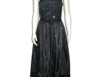 60s Black Gown Cocktail Gown Black Cocktail Dress 1960s Prom Dress Black Party Dress  Ballet Length Velvet Sequin Evening Wear