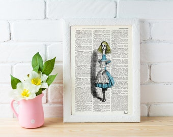 Summer Sale Alice in Wonderland  Print on Vintage Dictionary Book ALW003