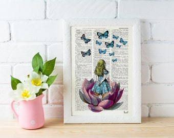 Summer Sale Alice in Wonderland Looking for a blue butterfly Alice in Wonderland Collage Print on Vintage Dictionary Book ALW013b