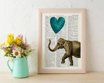 Summer Sale Elephant Art Print Art Print Heart shaped balloon in teal Wall Decor Elephant POSTER Dorm Decor Art Fun Love ANI216
