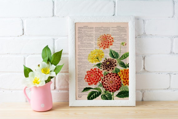 Dahlia bouquet printed on  Dictionary Page wall art home decor,  , flower wall art, Dahlia wall decor BFL081b