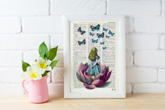 Spring Sale Alice in Wonderland Looking for a blue butterfly Alice in Wonderland Collage Print on Vintage Dictionary Book BPAW013b
