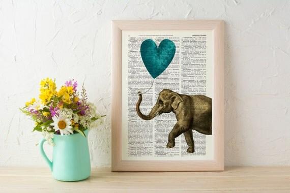 Spring Sale Elephant Art Print Art Print Heart shaped balloon in teal Wall Decor Elephant POSTER Dorm Decor Art Fun Love BPAN216