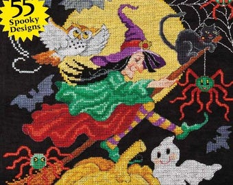 NEW 2017 Halloween cross stitch patterns magazine : Just Cross Stitch Collectors Issue fantasy