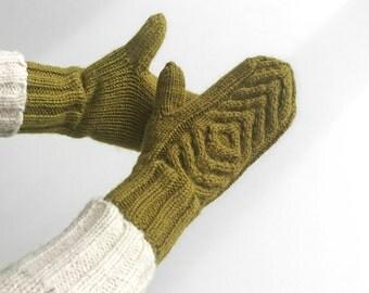 Aran Knit Mittens - 100% Natural Wool