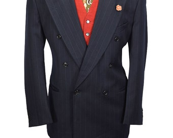 Valentino Uomo 42R Italian Made Double Breasted Peal Lapel Wool Blazer