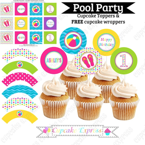 Pool Party Cupcake Toppers Beach Birthday Party PRINTABLE