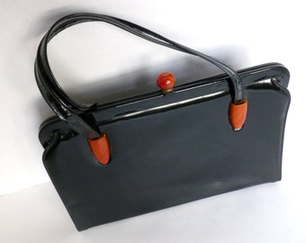 Black Patent Leather Purse with Top Handle and Tortoiseshell Clasp and Cabochons by Garay