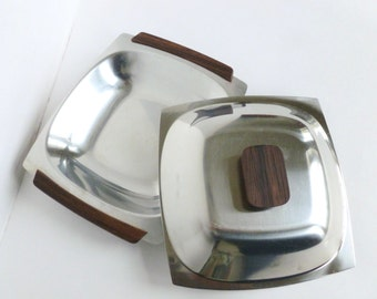 Danish Modern 18/8 Stainless Steel and Teak Wood Square Covered Serving Dish Mid Century Mod Made in Denmark
